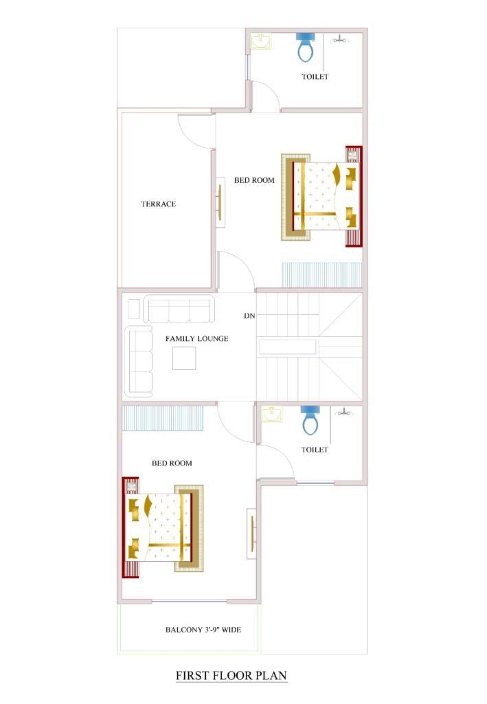 20x50-ff-709x1024 Narrow House Plan With Courtyard on narrow house plans with carport, narrow courtyard design, narrow house plans with front porch, narrow house plans with rear garage, narrow house plans with stairs, narrow house plans with balcony, narrow house plans with loft,