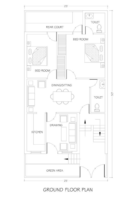 25x50 House Plan House Plans